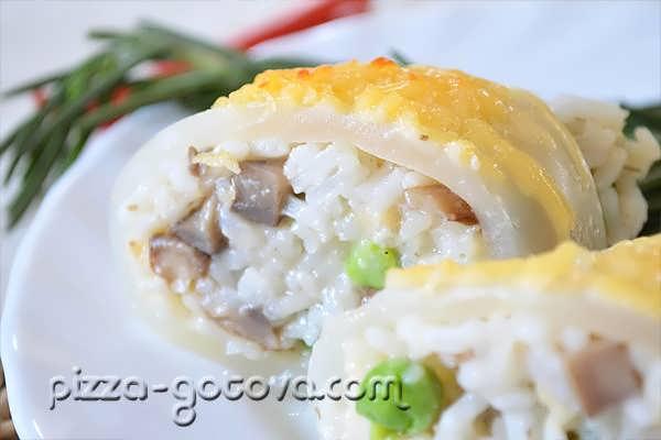 Кальмары фаршированные рисом и грибами рецепт