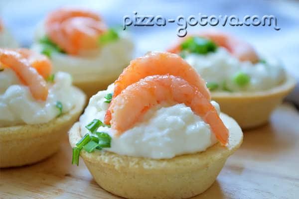 Тарталетки с креветками и сыром фото