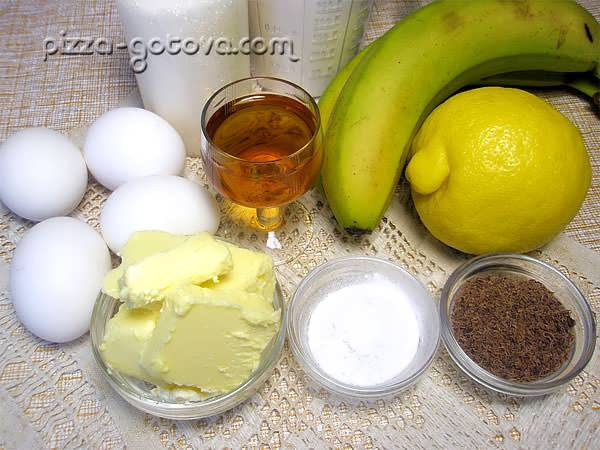 Ингредиенты для пирога с бананами