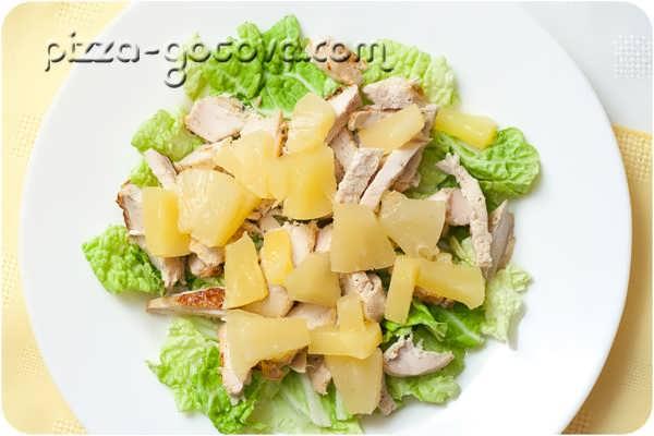 добавляем ананас к салату