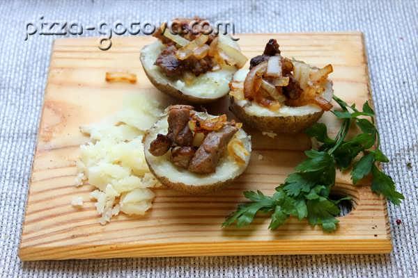 фаршируем картофель мясом и луком