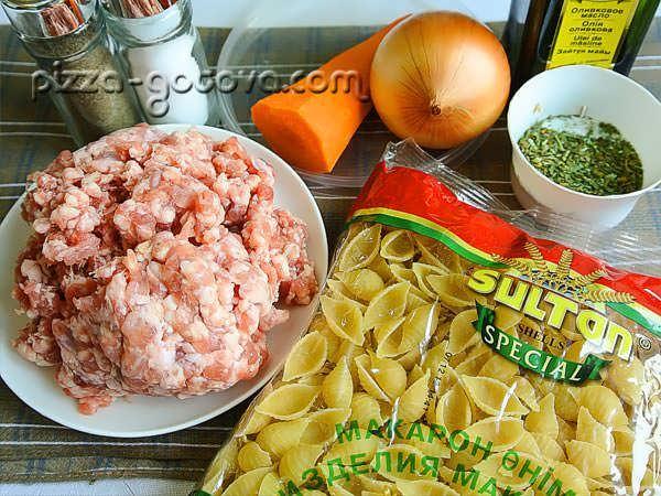 ингредиенты для макарон