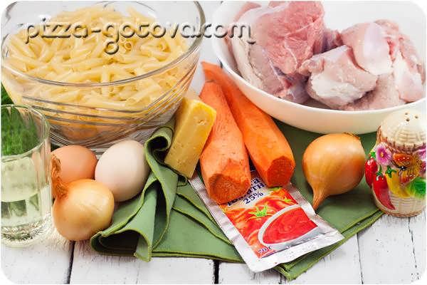 ингредиенты для запеканки из вермишели