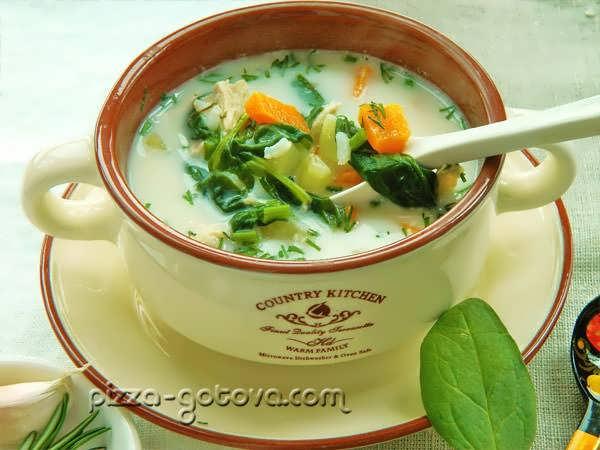 Куриный суп со шпинатом и сливками