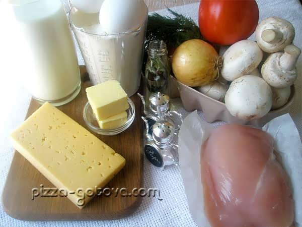 ингредиенты лазаньи с курицей и грибами