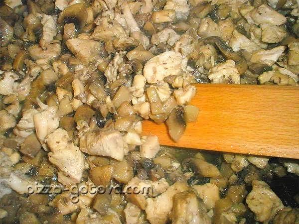 жарим грибы и филе