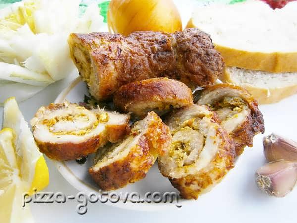 Мясной рулет из свинины фото
