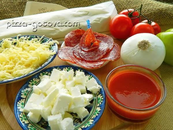 Ингредиенты для пиццы на слоеном тесте