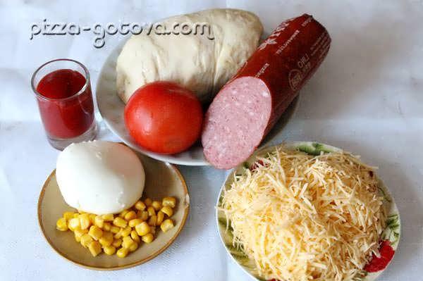 моцарелла, помидоры, салями