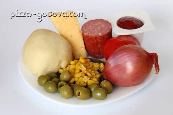 оливки, салями, кукуруза