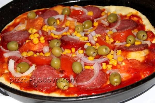 пицца с курицей и помидорами рецепт с фото без дрожжей