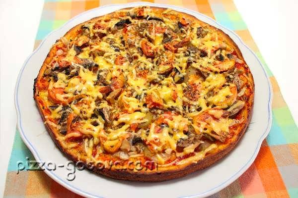 Рецепт пиццы с шампиньонами