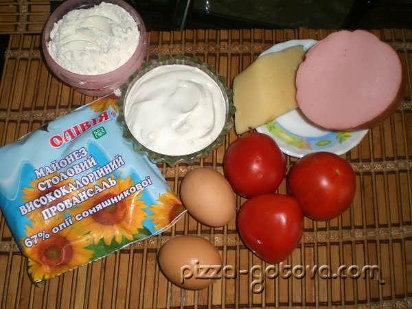 ингредиенты для пиццы на сковороде