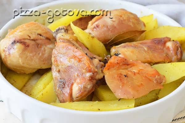 рецепт запеченной картошки с курицей