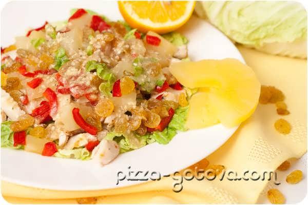 салат с курицей и ананасами рецепт с фото