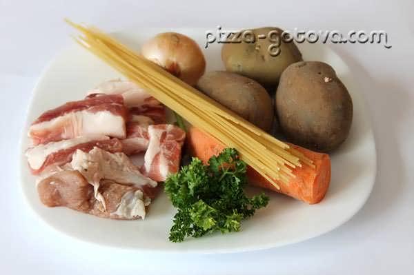Ингредиенты для супа из свиных ребрышек