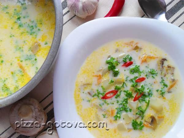 рецепт и калорийность супа с плавленным сыром