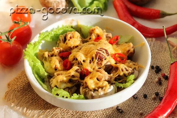 запеченные грибы в духовке рецепт с фото